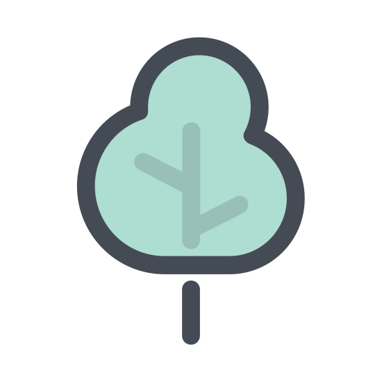 Oak Tree icon. This icon is shaped like a tree. There are two curved lines for the trunk and a curved and bubbly shape for the bushy leaves at the very top of the tree image.