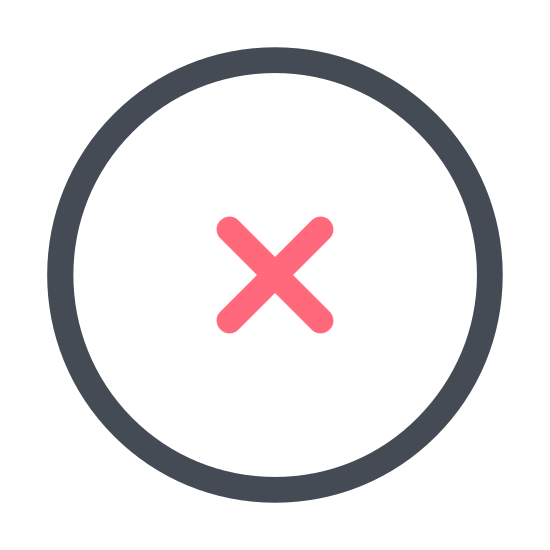 Delete icon. This is a very simple icon that is composed of two fairly long lines that meet in the middle and cross over each other to create an X shape. It looks just like the shape a pirate might use when marking a map to indicate where he buried his treasure.