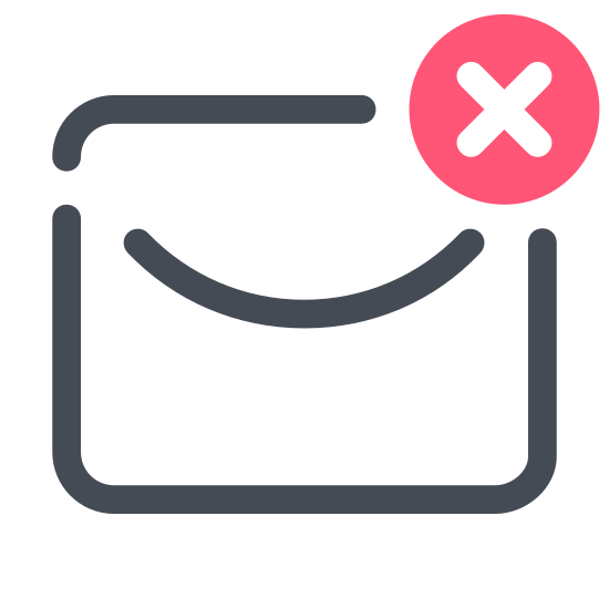 "Deleted Message icon. The icon for Deleted Message is mostly in the shape of an envelope. It has a circle that has an ""x"" in the middle of it, located on the bottom right hand corner."