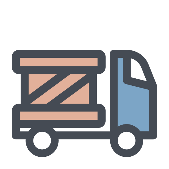 Delivery icon. A basic outline of a delivery type truck that has the symbol of a clock at the top back corner. The symbol may represent delivery time information for the delivery truck.