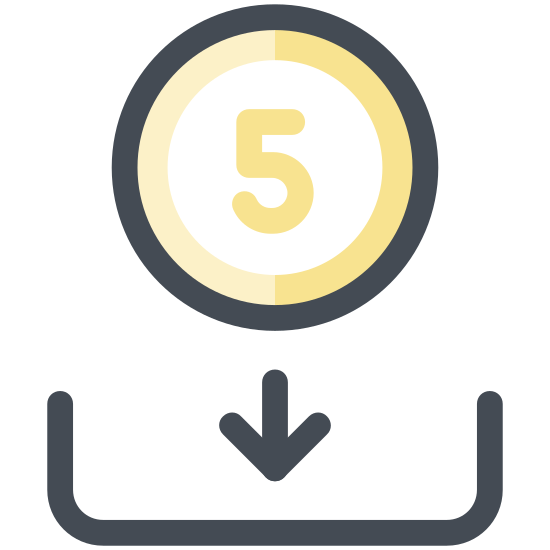 Deposit icon. This appears to be a circle with a 5 in the center of it. There's a square underneath the circle that's missing its top line. There is an arrow that is pointing from the bottom of the circle to the bottom of the square.