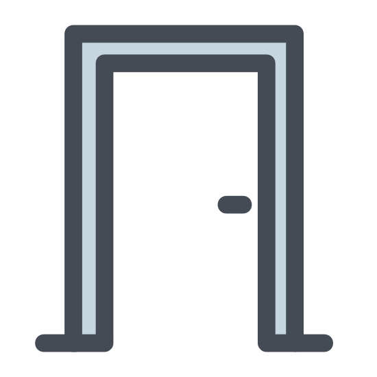 Door icon. The icon is shape like a vertical rectangle. Inside the rectangle towards the middle right is a dot. The left, top, and right sides of the rectangle is traced but a slightly larger rectangle.