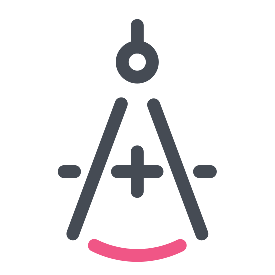 Cyrkiel icon. A drafting compass composed of two stick shapes, which are the pencil and the pointer and it is connected together by a circle shaped. The compass needs to be connected together because one point stays on the paper and the pencil goes around the circle to draw the circle.