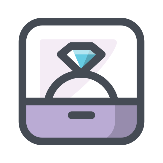 Engagement Ring icon. An engagement ring is a small circle that is usually silver or gold. On top of it is a gemstone that is rugged in features, and is stuck onto the small silver/gold circle that rests on your finger. It is sometimes held in a rectangle like box that opens through a latch, and is used for marriage.