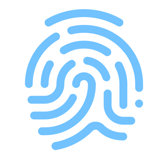 Отпечаток пальца icon. This looks like a zoomed-in finger print. There are many lines that start in the bottom right, curving up and to the left, and then ending in the bottom left. There's many breaks in the lines.