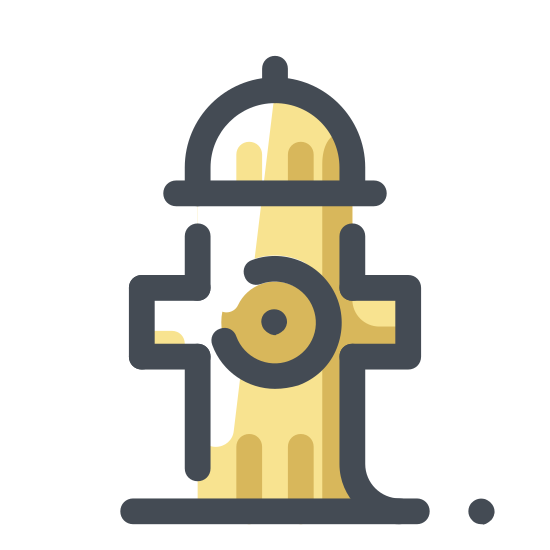 Hydrant icon. The icon is a fire hydrant. It is the shape of a thick multi directional pipe with a cap on the top of it.
