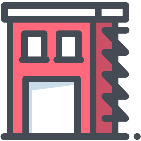 Fire Station icon. The logo is a square with a triangle too represent a house. Inside of the house is a circle. Inside of the circle there is a drawing of a flame.