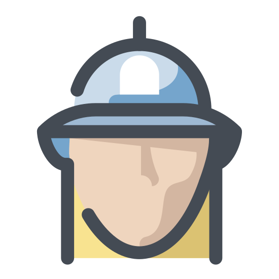 Firefighter icon. This is an image of a firefighter. The firefighter has no physical characteristics on it, it has a blank face. The firefighter is wearing a helmet on top of its head with a small badge in the center of the helmet.