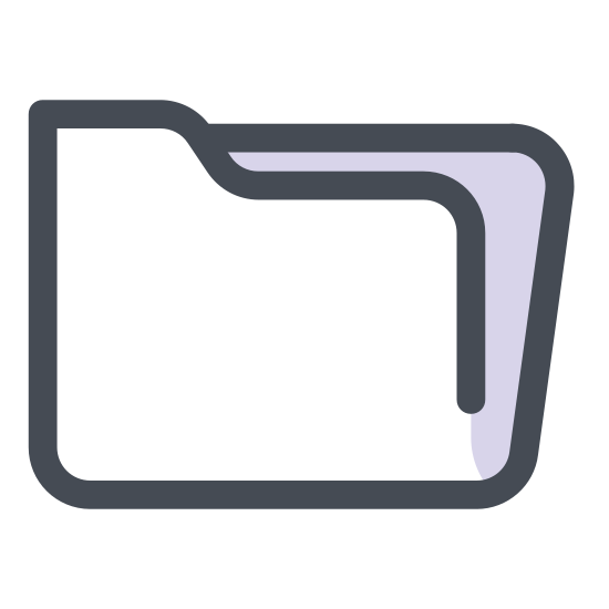 Folder icon. This is an icon of a file folder. The folder is a perfect square in shape and has a slightly raised tab on the top. The lip of the folder comes down as a line right below the top of the folder.