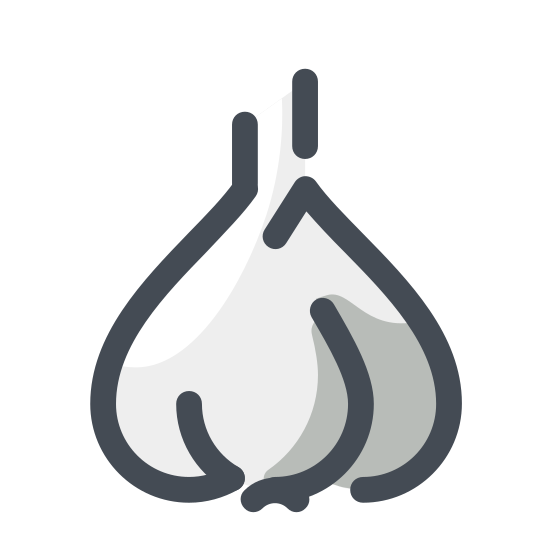 Czosnek icon. The icon is a simple depiction of a head of garlic. Three very large cloves drop down, extending from a somewhat thick stalk, which truncates fairly short to the head's body. The cloves are of different size, and extend from the body of the head at different heights.