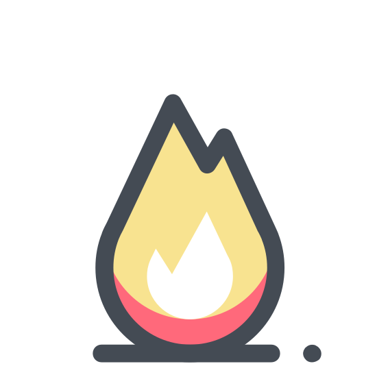 Gas Industry icon. This icon looks like a leaf with no bottom. It has a similar shaped object in the middle of it, just with one more point. Under it, is a shape with a flat bottom and 5 squared shapes on top.