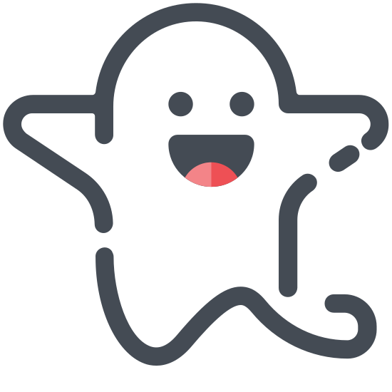 Ghost icon. It's an icon of a ghost, like the kind people dress up as on Halloween with the sheet and the two holes cut out for eyes. Except this isn't a person, it's just floating in the air.