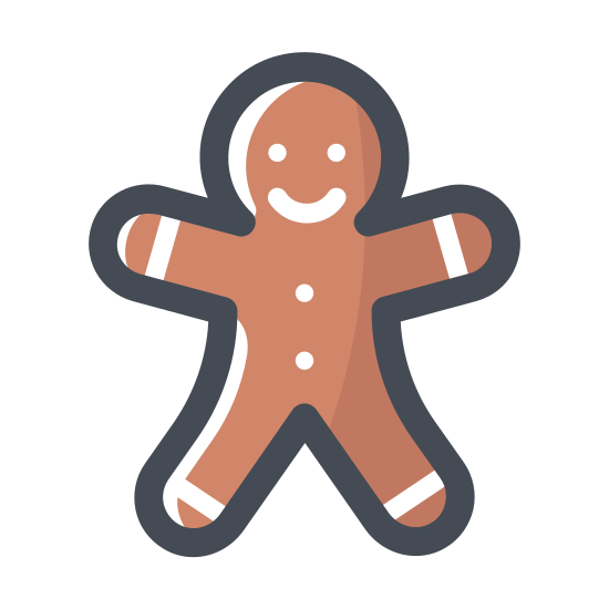 Ludzik z piernika icon. Itsa man with an over sized head and arms stretched out. Its a gingerbread man from classic tales with gumdrops represented by black dots for buttons. icing for hands and feet and a smile on his face