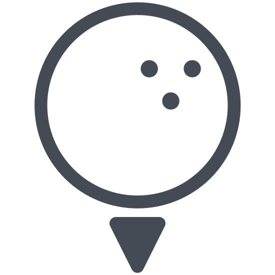 Piłka golfowa icon. This is a golf ball resting on a golf tee. It has dimples along the bottom right hand side to help keep it steady in the air. The tee is driven most of the way into the ground below it and only the small head portion is sticking out of the flat surface below it.