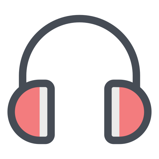 Headphones icon. This particular icon is made up of half circles.  There are two half circles positioned next to each other with their flat sides facing each other.  A long curved line connects them both.