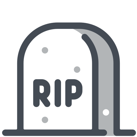 Nagrobek icon. The image is the outline of a headstone slightly tapered inward with beveled top edges. It has the letters rip in the center and a line on the bottom depicting the ground.