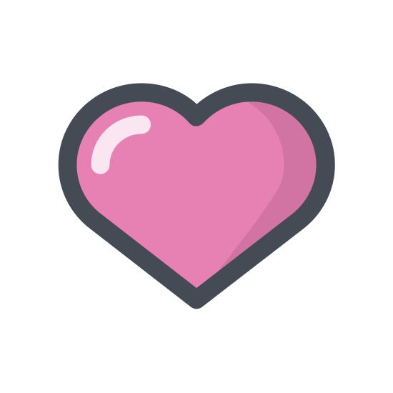 Kier icon. This icon looks like a heart symbol. It has a rounded v-top that circles around and closes together at the bottom into a point. It would be used to show love or affection.