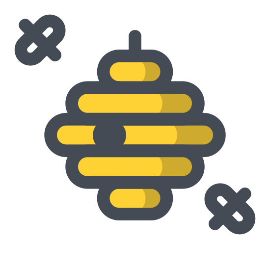 Gniazdo szerszeni icon. The icon is composed of numerous rounded rectangles, stacked in an ascending, then descending size order, as to form a hexagon shaped bee hive. The rectangles are connected at random points on their edges to indicate coherence. An entry hole is visible toward the bottom of the hornet hive.