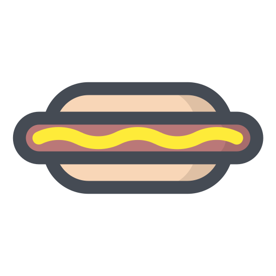 Hot dog icon. Its a hot dog with a sausage. This sausage is served in a sliced bun as a sandwich.