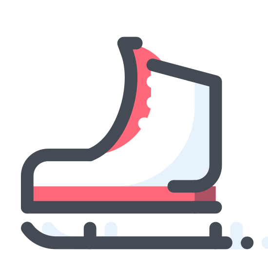 Łyżwy icon. It is an ice skate. It looks like a boot with laces all up the front. On the bottom of the boot a curve comes out at the heel and the toe, it's attached to a ski that is turned up at the front.