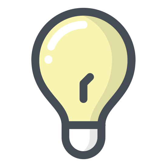 """Pomysł icon. It is a light bulb. Inside of it, there is a """"Y"""" sort of drawing to indicate the inner workings of the bulb. It also has the screwing part on the bottom of the bulb."""