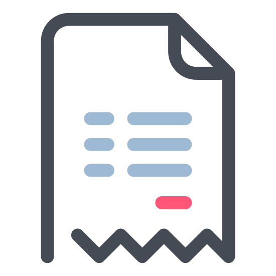 Invoice icon. This is a picture of a note or paper with two lines (the one on top being twice as long as the one on bottom). It has a grid of sorts between the lines, in the middle of the paper. It seems to show a report or graph.