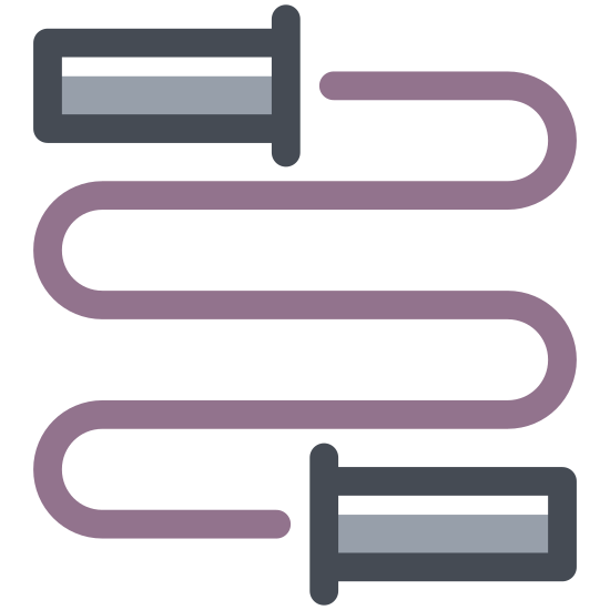 Skakanka icon. The icon is a simplified depiction of a children's jump rope. It consists of two handles, shaped roughly like fish, with a rope coming from both handles that swerves down, and connects in a loop at the center.