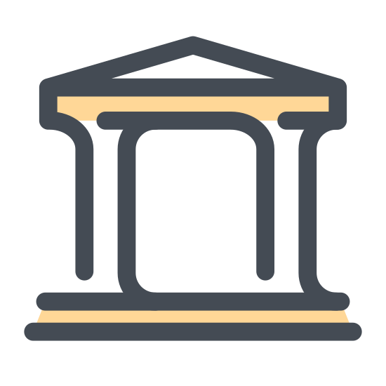 Library icon. This is a black and white outline of the front of a Library. There is a triangle roof, a circle in the center of the roof, and four pillars.