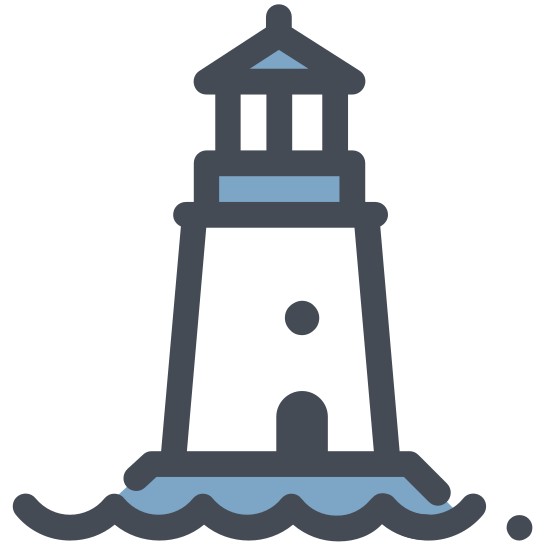 Latarnia morska icon. This icon for a lighthouse has a rectangular base with lines on it, the top is narrower than the base. On the top of the rectangle is a window shape, with a triangle forming the roof of the lighthouse. There are four diagonal lines coming out of the window shape, two on each side pointing in opposite directions.