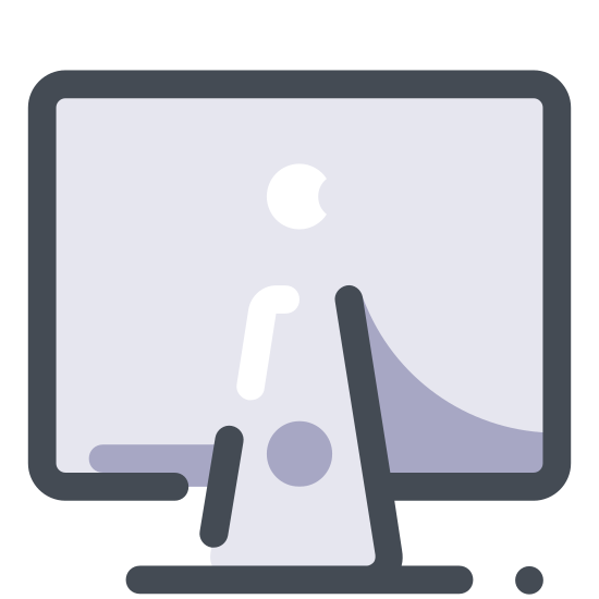 Mac Client icon. The mac client icon consists of a computer monitor and in the center of the computer monitor there is an apple that looks as if someone has taken a bite off of it. Since the company Apple runs mac, they placed a bitten apple to represent their company.