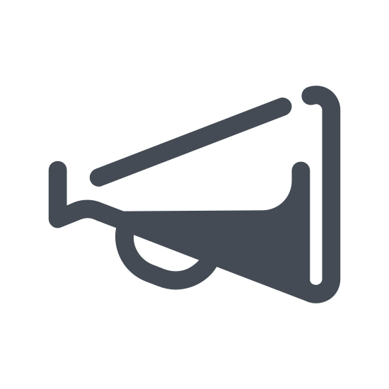 Megaphone icon. This is an icon of a megaphone. It is the shape of a traditional old fashion megaphone. It has the typical sideways triangle shape, with the handle on the bottom and the mouth piece where you yell in it at the tip of the triangle.