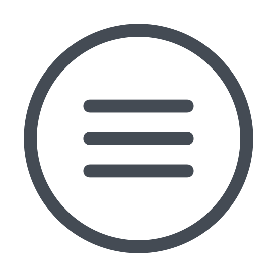 Menu icon. Its an image of the icon representing a menu option. The image consist of three horizontal lines of equal length. Each line is separated by an equal length. Its like two rectangles stacked on top of each other with no sides.
