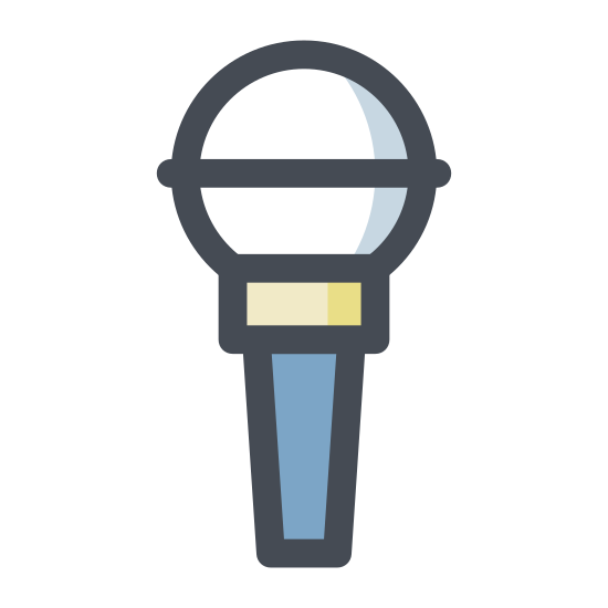 Mikrofon 2 icon. This icon is meant to represent a microphone. It uses a circle with a line through it to represent the business end of the microphone and a tapering rectangle of uneven sides to represent the handle. There is a small line running parallel to the sides of the handle that represents the power switch and curved line coming out of the bottom of the handle that represents the power cord.