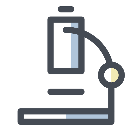 Microscope icon. The icon is depicting a microscope. The body of the microscope is curved and oriented towards the right. The microscope is resting on a thin rectangular base with curved edges.