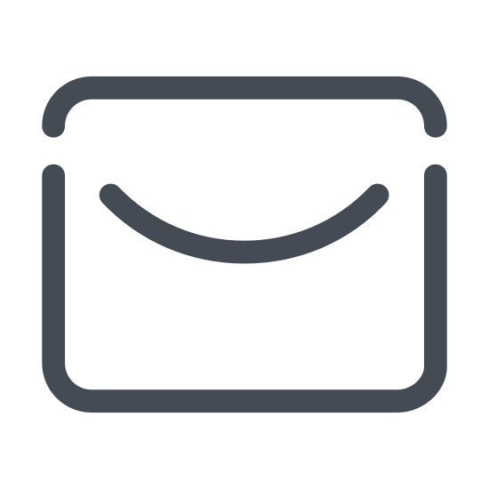 New Post icon. This is a rectangle depicting an envelope. There is a triangle inside the rectangle pointing downwards, depicting the flap of the envelope.