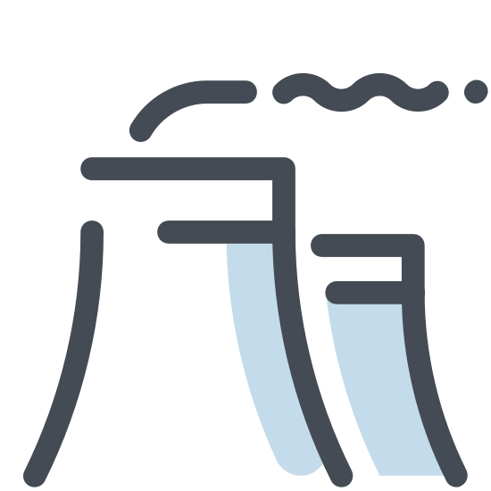 Nuclear Power Plant icon. It is a basic picture showing a nuclear power plant cooling tower. it's shaped somewhat like a cylinder, but it's thinner at the top. short, wriggly lines are placed above the tower representing plumes of smoke. the standard radioactive hazard symbol is on the tower.