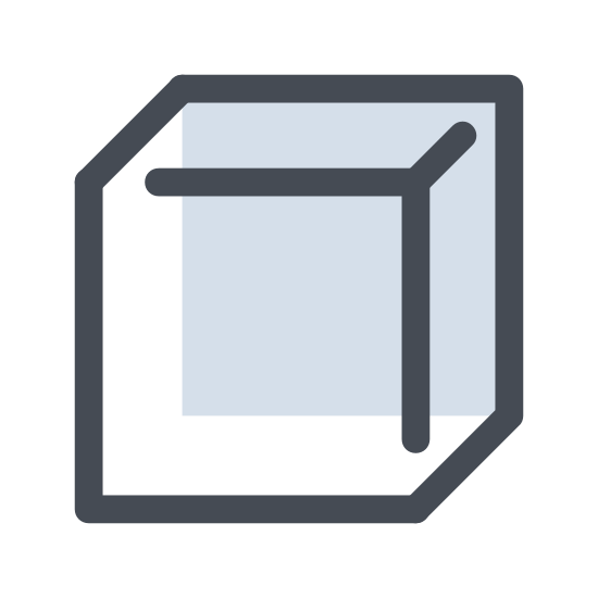 Orthogonal View icon. The icon resemble a square that is three dimensional and forms a cube shape. The lines that turn the square into the cube shape are drawn going left of the square.