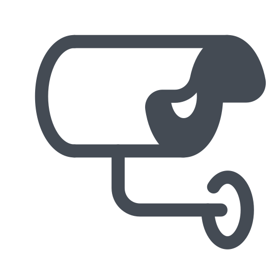 Outdoor Camera icon. This logo is shaped like half of a house with the left side unfinished.  The top is shaped like a roof with a bit of a point to it.  Sticking off the right side of the house is camera sticking out aimed at you.