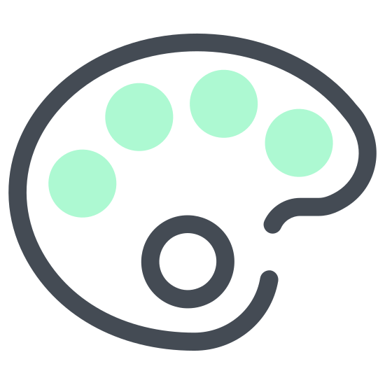 Paleta kolorów icon. The icon is shaped like an oval that slightly resembles the letter C. Inside of it there are five circle shapes that almost go completely around it if it wasn't for the missing circle towards the middle right.