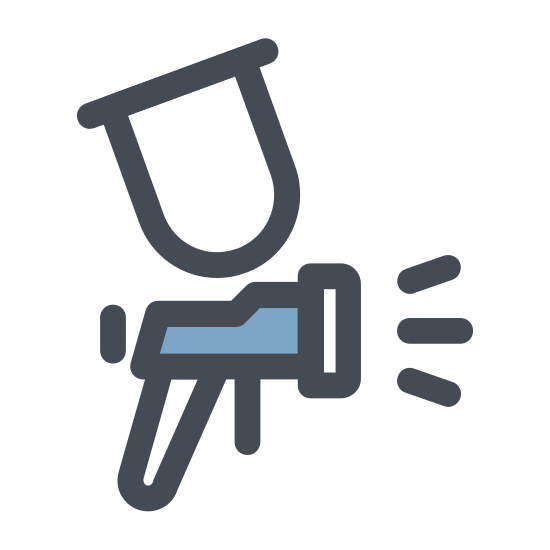 Paint Sprayer icon. The icon is a simplified depiction of a device used to spray paint using gas accelerant  The tool has a pistol grip, with the body of the device ending in a rectangle separating the nozzle from the body. A tank extends upward to hold the paint being sprayed.
