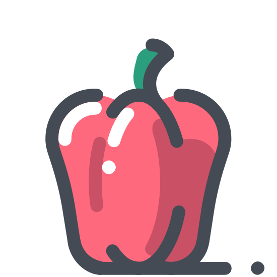 Paprika icon. It's a logo of paprika. It is sort of shaped like a bell pepper or a longer apple. It has two curves on bottom and three on top with a steam coming out of the top and facing to the right.