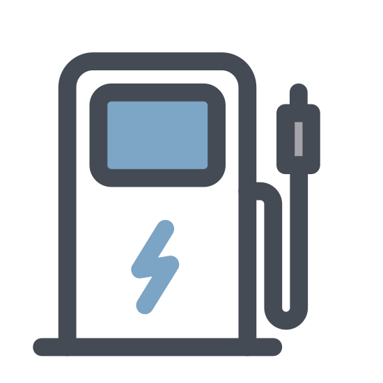 Charging Station icon. There an uppercase letter P, that's inside a square box that looks like a cord. The square box itself looks life a power cord, with a uppercase letter Pin the center of the box
