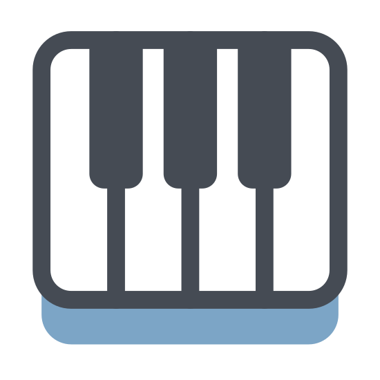 Pianino icon. This particular icon features a rectangle with a black horizontal line that runs through the middle.  Attached to the horizontal line are five black thick lines that are situated on it.