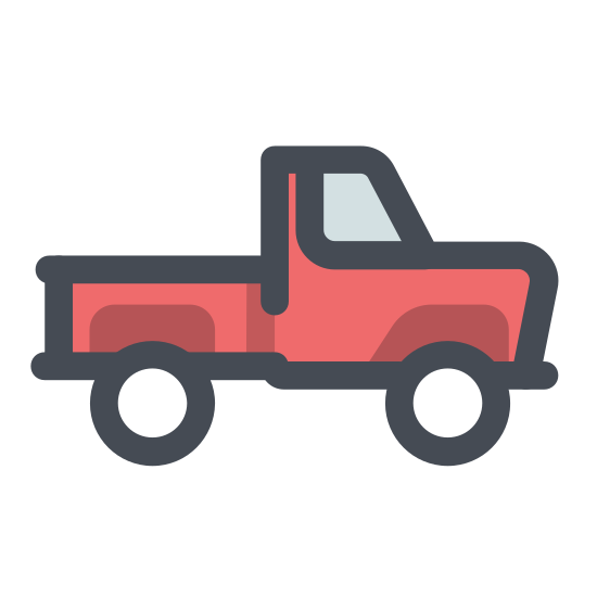 Pickup icon. This icon is small square with two circles, one on the bottom right and one on the bottom left. It also has a triangle on the top right portion connecting to a really small square, not fully covering the first mentioned square.