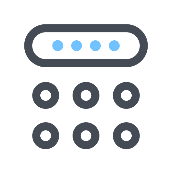 Pincode Клавиатура icon. The icon consists of two rectangular objects of equal height but different widths. The object on the left has a rectangular outer shape with four rows and three columns of squares arranged in a grid. The object on the right consists of four rectangles with rounded corners that are wider than they are long and are all stacked.