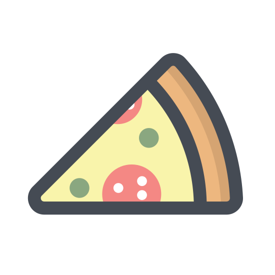 Pizza icon. The pizza icon is shaped like a piece of pizza. It is a wedge shape with a crust on the outer edge and circles in the middle. It is a triangle with a curved edge.