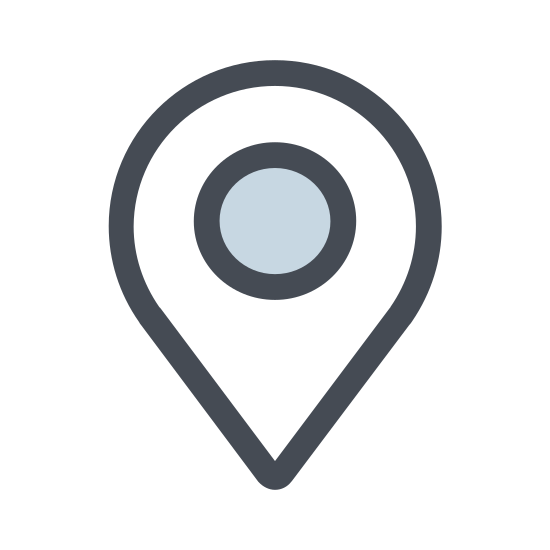 """Geo-fence icon. It's a logo for Geo-fence and has a """"C"""" shaped line at the base facing upwards with a pointed circle pointing downwards into the """"C"""". There is a circle in the middle of the pointed circle."""