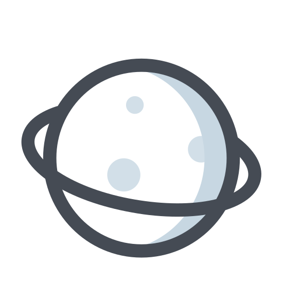 Planeta icon. There is a circle with a fatten ring around its middle encircling it. There is no space between the ring and the sphere. Nor is there any details on the main circle or the ring.