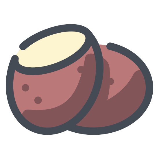 Ziemniak icon. There is a leaf like/chip like object. there are 3 tops at the top and there are 3 dots at the very bottom. it is shaped like a pear.