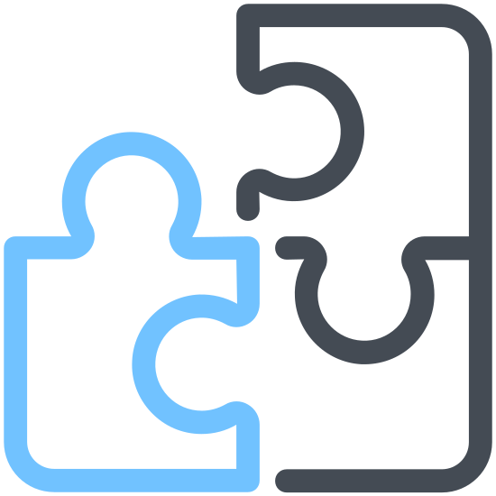 Puzzle icon. This is a corner puzzle piece -one that would go in the southeast corner of a puzzle. The shape is roughly square. There is a protruding nub on the top. On the left is a space where the protrusion from another piece would fit.
